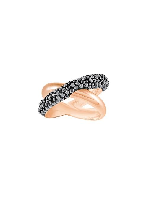 Swarovski Crystaldust Cross Ring, Black, Rose Gold Plating Renkli